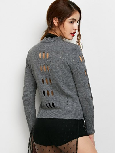 Cut Out Mock Neck Sweater - GRAY L Mobile