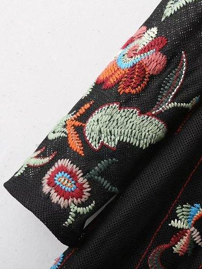 Tea Length Embroidered Mesh Dress - BLACK L Mobile