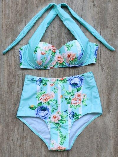 Tied Floral High Waisted Bikini Set - Cyan