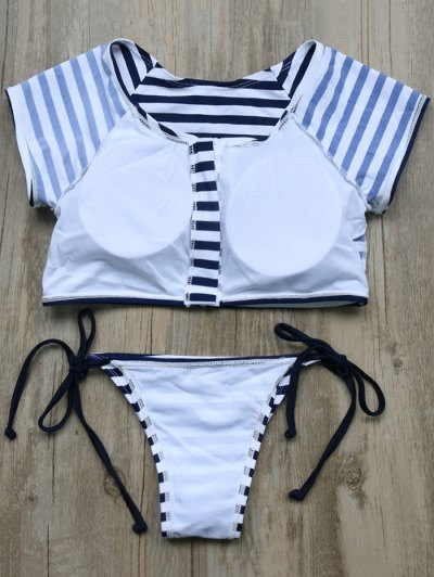Full Zip Cropped Striped Tankini Set - DEEP BLUE L Mobile