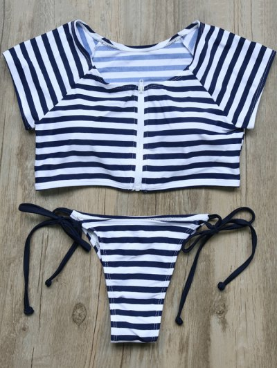 Full Zip Cropped Striped Tankini Set - DEEP BLUE M Mobile