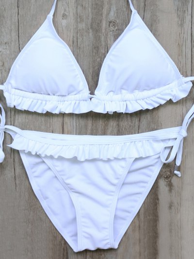 String Double Side Frilled Bikini Set - WHITE M Mobile