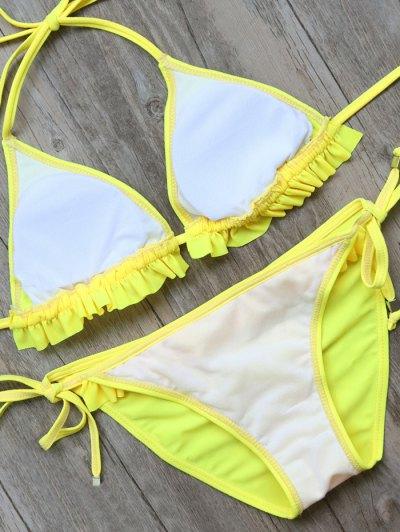 String Double Side Frilled Bikini Set - YELLOW L Mobile