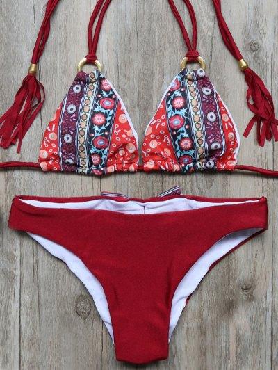 Print Panel Tassels Bowknot Bikini Set - WINE RED L Mobile