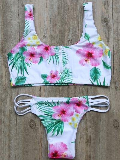 Cutout Half Zip Floral Bikini Set - White