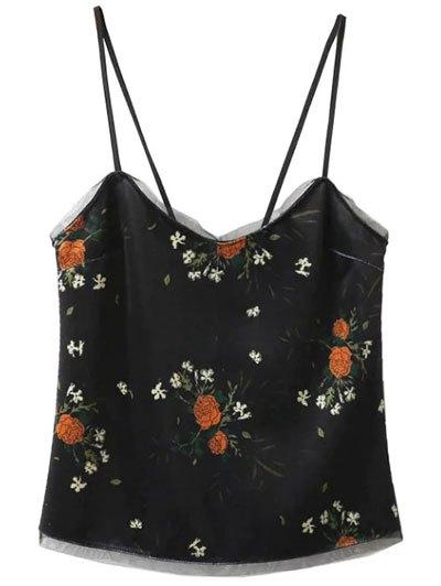 Velvet Cami Top in Floral Print - BLACK L Mobile