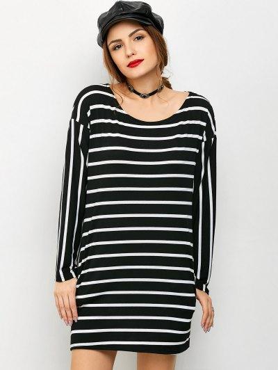 Side Slit Long Sleeve Striped Mini Dress - STRIPE M Mobile
