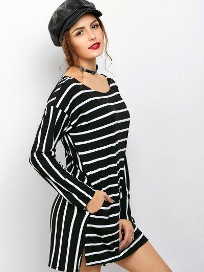 Side Slit Long Sleeve Striped Mini Dress - STRIPE S Mobile