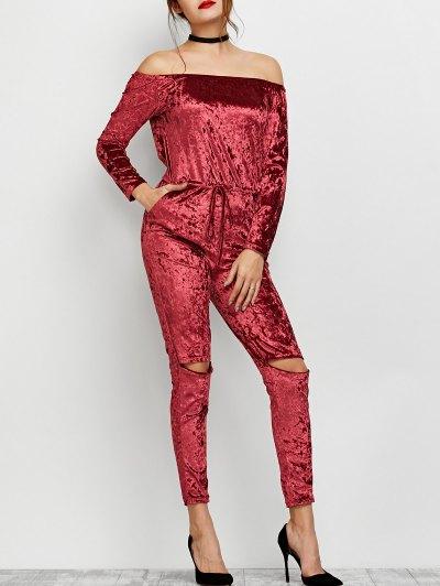 Ripped Off Shoulder Velvet Jumpsuit - WINE RED S Mobile