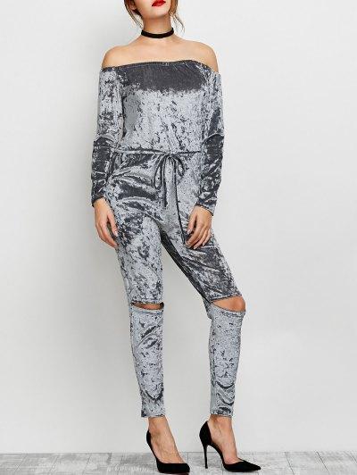 Ripped Off Shoulder Velvet Jumpsuit - GRAY M Mobile