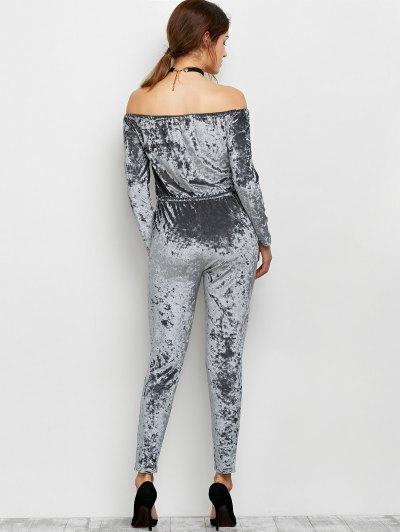 Ripped Off Shoulder Velvet Jumpsuit - GRAY S Mobile