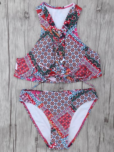 Patterned Lace Up Bikini Set - COLORMIX L Mobile