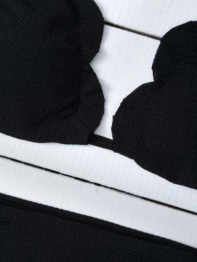 Scalloped Halter Bikini Set - BLACK S Mobile