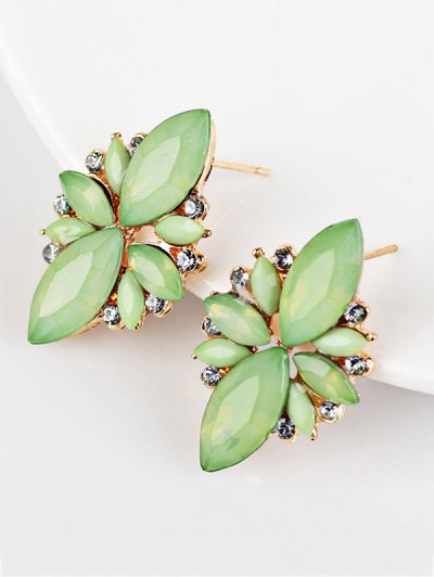Artificial Gems Embellished Candy Color Earrings - GREEN  Mobile
