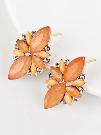 Artificial Gems Embellished Candy Color Earrings - ORANGE  Mobile