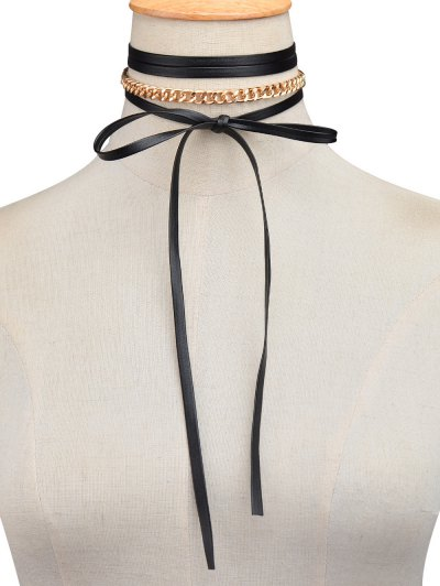 Faux Leather Wrap Choker - GOLDEN  Mobile