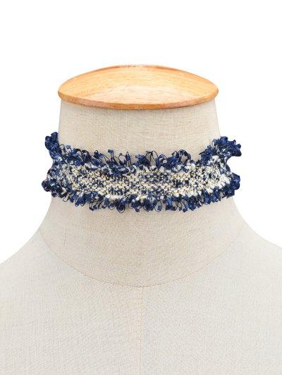 Knitted Fringed Choker - BLUE  Mobile