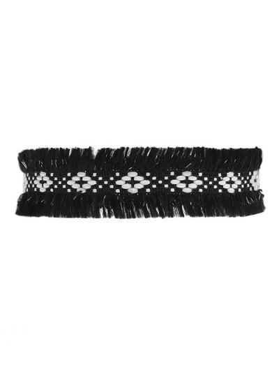Woven Fringed Choker Necklace - BLACK  Mobile