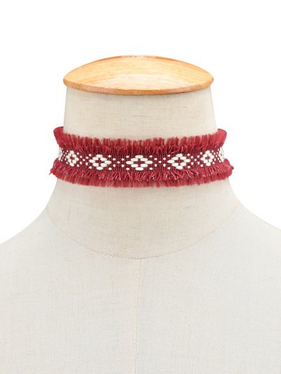Woven Fringed Choker Necklace - WINE RED  Mobile