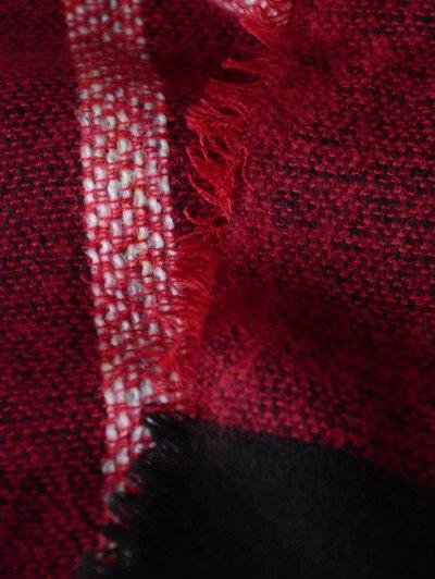 Plaid Pattern Fringed Knit Blanket Scarf - BURGUNDY  Mobile