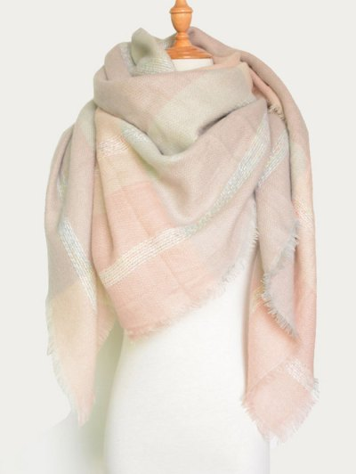 Plaid Pattern Fringed Knit Blanket Scarf - PINK  Mobile