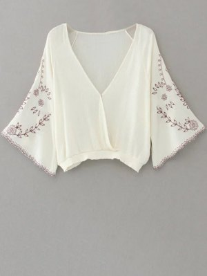 Linen Embroidered Surplice Blouse - White