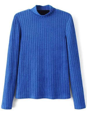 Ribbed High Neck Knitwear - Blue