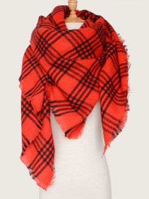 Plaid Pattern Blanket Scarf - Red