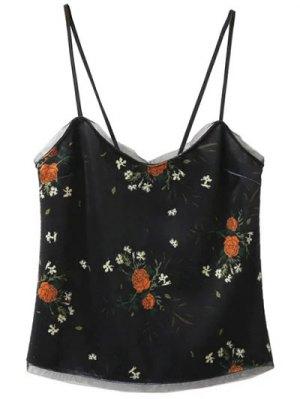 Velvet Cami Top In Floral Print - Black