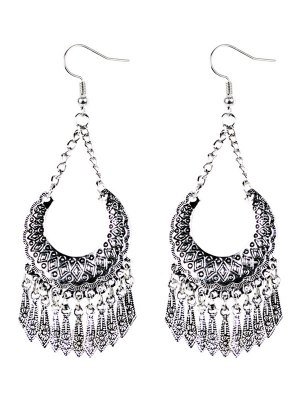 Geometrical Tassel Drop Earrings - Silver