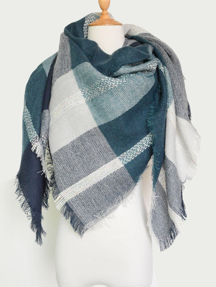 Knit Blanket Scarf with Fringed