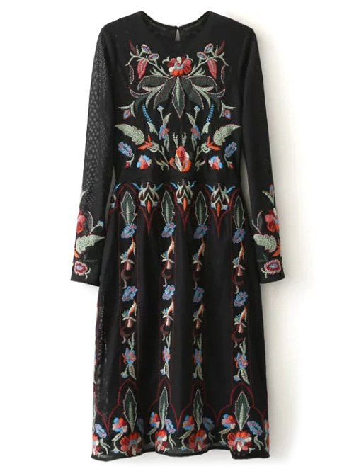 Floral Embroidered Tea Length Dress
