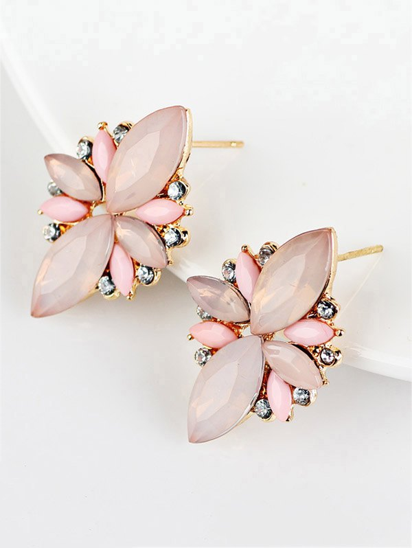 Artificial Gems Embellished Candy Color Earrings
