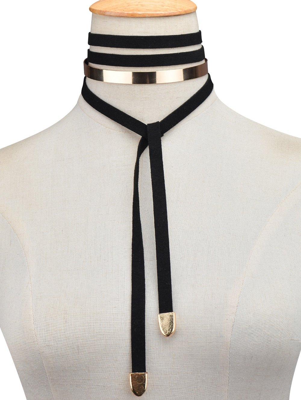 Metal Insert Wrap Choker Necklace