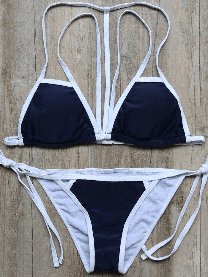 Color Block Strappy String Bikini Set