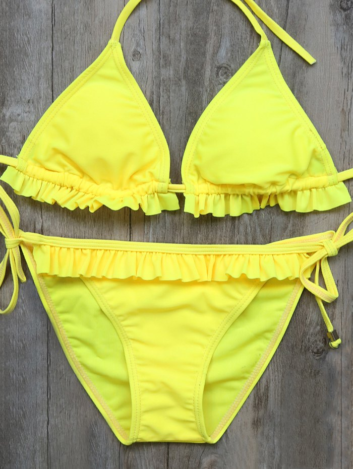 Double Side Frilled String Bikini Set