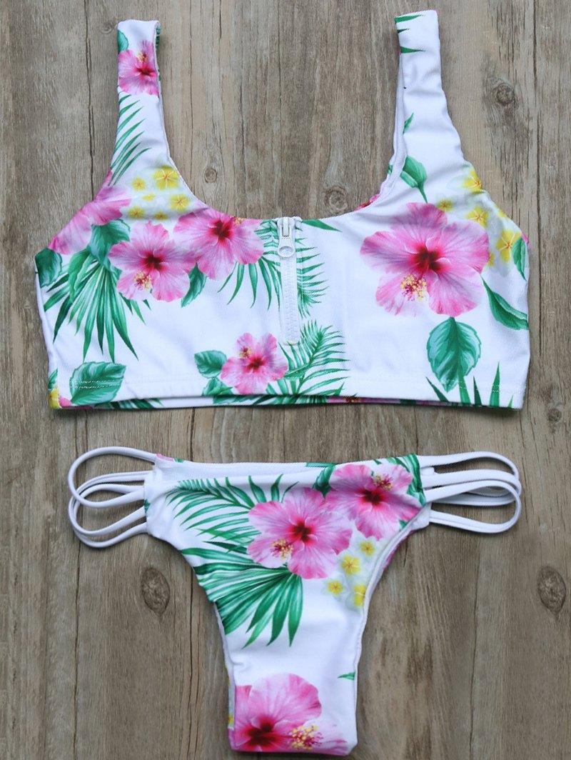 Floral Cutout Half Zip Bikini Set
