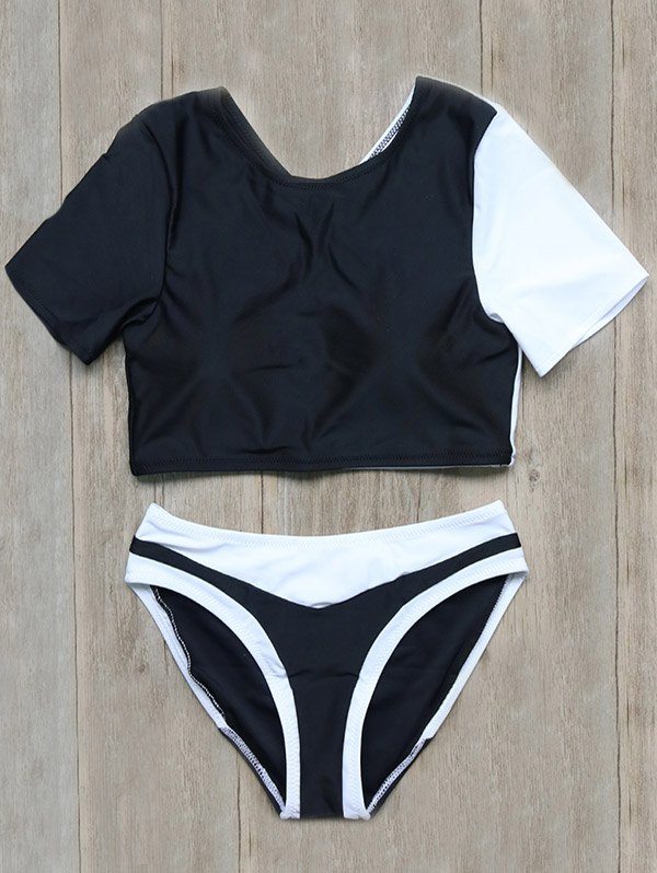 Short Sleeve Color Block Backless Swimsuit