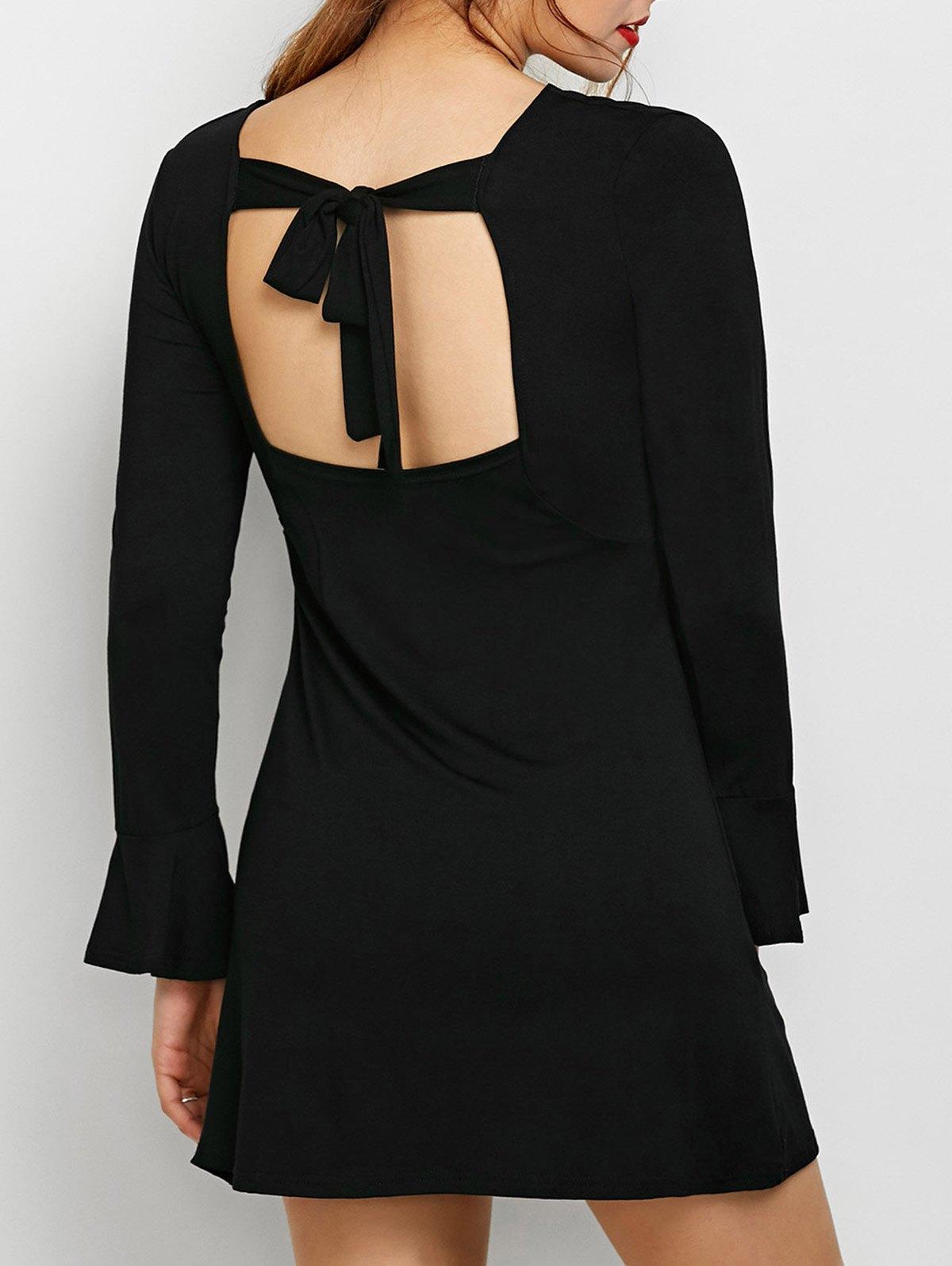 Flare Sleeve Cut Out DressClothes<br><br><br>Size: S<br>Color: BLACK