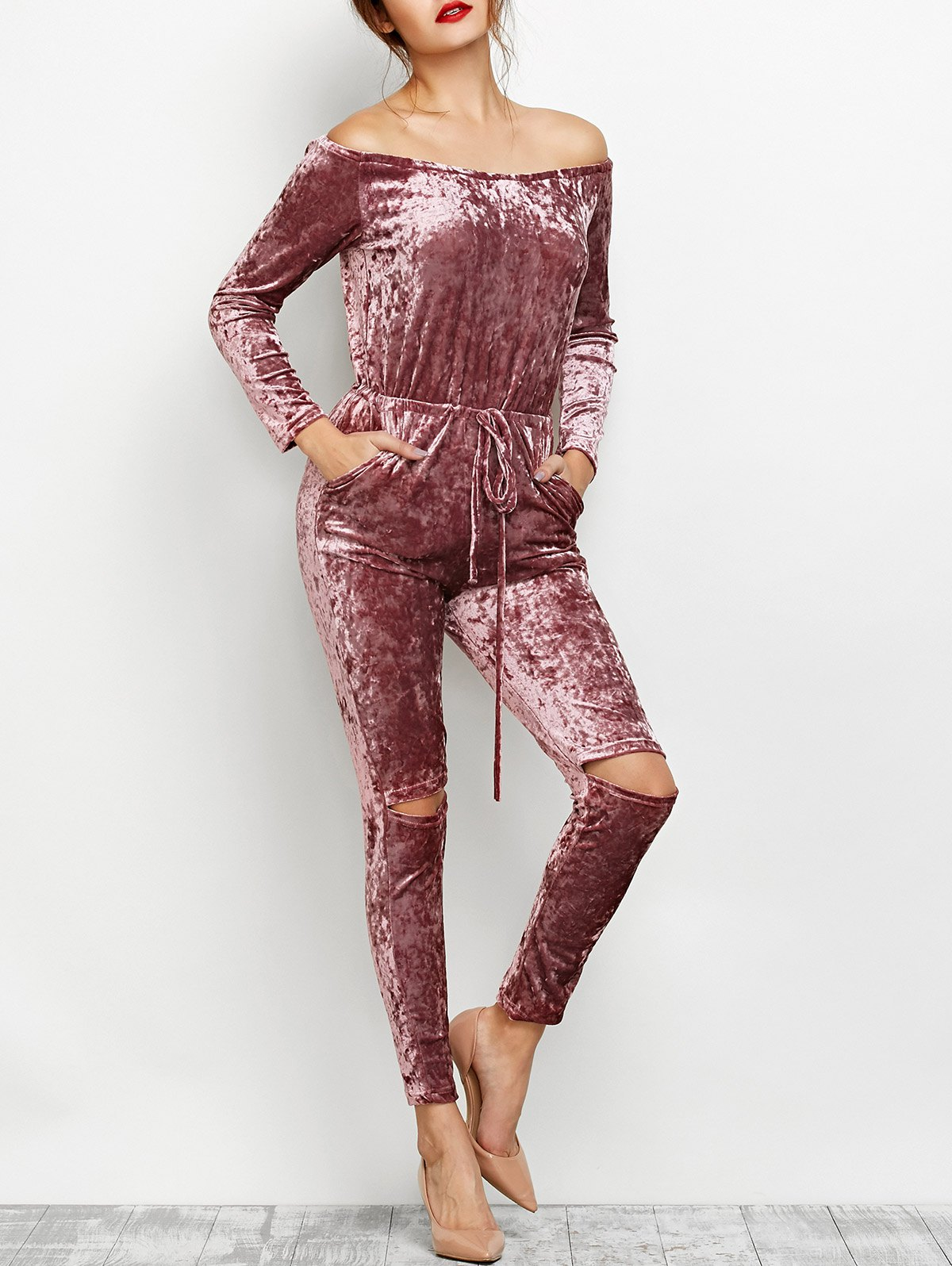 Velvet Off Shoulder Ripped Jumpsuit