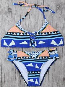 Geometric Pattern Strappy Bikini
