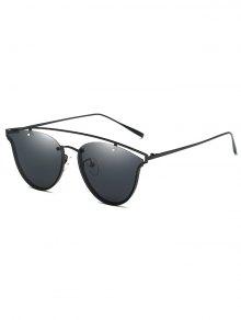 Crossbar Metal Butterfly Sunglasses - Black