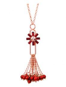 Flower Fringed Beads Rhinestone Sweater Chain - Red