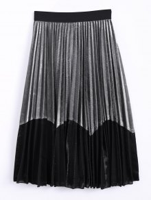 Color Block Velvet Pleated Skirt
