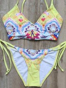 High Leg Lace-Up Printed Bikini Set