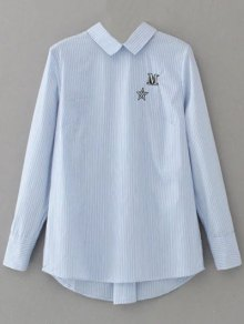 Lace Up Striped Embroidered Blouse - Light Blue