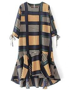 Checked Ruffle Hem Midi Dress
