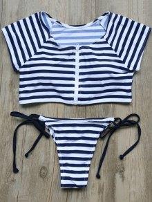 Full Zip Cropped Striped Tankini Set - Deep Blue