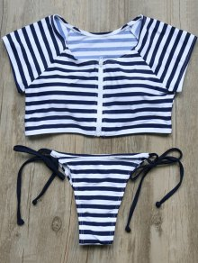 Buy Full Zip Cropped Striped Tankini Set M DEEP BLUE