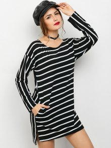 Side Slit Long Sleeve Striped Mini Dress